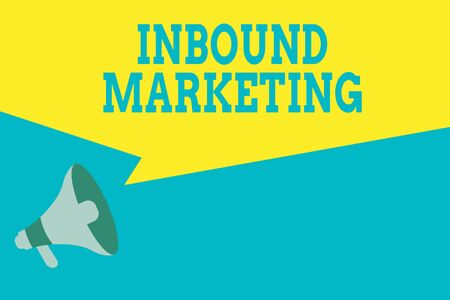 Word writing text Inbound Marketing. Business photo showcasing Process of attracting the attention of customers Megaphone Loudspeaker Amplify and Blank Geometric shape Half Speech Bubble Stock Photo