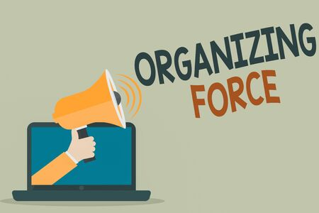 Text sign showing Organizing Force. Business photo showcasing being United powerful group to do certain actions Hu analysis Hand Coming out of PC Monitor Holding Megaphone with Volume Icon