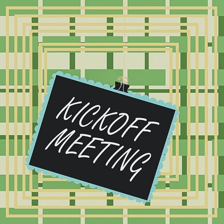 Text sign showing Kickoff Meeting. Business photo text Special discussion on the legalities involved in the project Stamp stuck binder clip paper clips square color frame rounded tip sticker Stockfoto