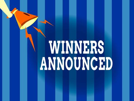 Handwriting text writing Winners Announced. Conceptual photo Announcing who won the contest or any competition Hu analysis Hand Holding Megaphone Downward with Lightning Sound Effect Icon