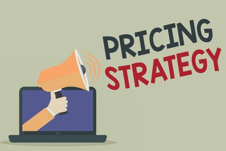 Text sign showing Pricing Strategy. Business photo showcasing set maximize profitability for unit sold or market overall Hu analysis Hand Coming out of PC Monitor Holding Megaphone with Volume Icon