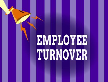 Handwriting text writing Employee Turnover. Conceptual photo Number or percentage of workers who leave an organization Hu analysis Hand Holding Megaphone Downward with Lightning Sound Effect Icon