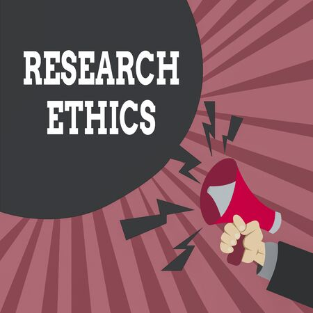 Conceptual hand writing showing Research Ethics. Concept meaning interested in the analysis of ethical issues that raised Male Hu analysis Hand Holding Megaphone Blank Speech Bubble