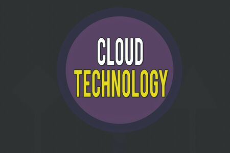 Conceptual hand writing showing Cloud Technology. Concept meaning storing and accessing data and programs over Internet Three Blank Safety Road signs lighted and dark Street Sign