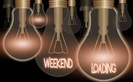 Conceptual hand writing showing Weekend Loading. Concept meaning Starting Friday party relax happy time resting Vacations