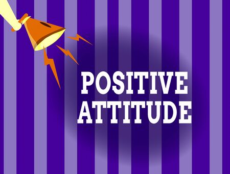 Handwriting text writing Positive Attitude. Conceptual photo Being optimistic in Life Looking for good things Hu analysis Hand Holding Megaphone Downward with Lightning Sound Effect Icon