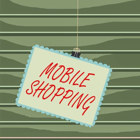 Conceptual hand writing showing Mobile Shopping. Concept meaning Buying and selling of goods and services through mobile Stamp stuck binder clip square color frame rounded tip Stockfoto