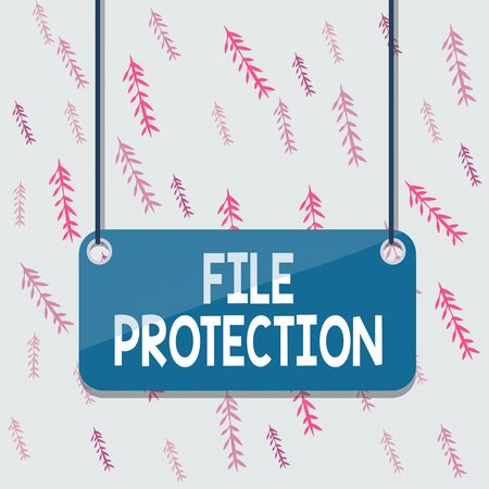 Handwriting text File Protection. Conceptual photo Preventing accidental erasing of data using storage medium Board color background plank attached string panel rectangle empty surface