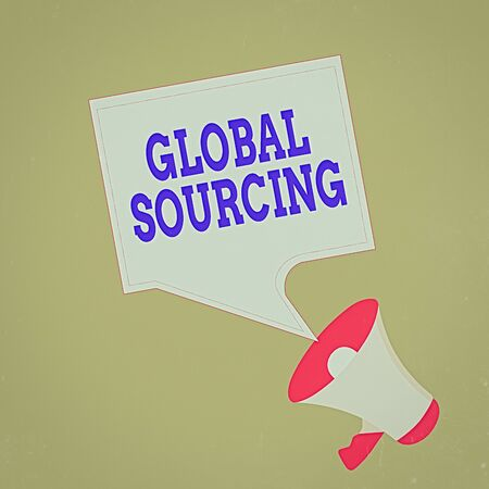 Conceptual hand writing showing Global Sourcing. Concept meaning practice of sourcing from the global market for goods Megaphone and Blank Square Speech Bubble Public Announcement