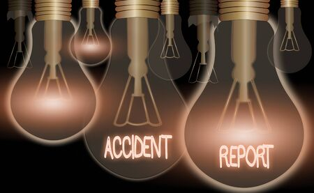 Conceptual hand writing showing Accident Report. Concept meaning A form that is filled out record details of an unusual event