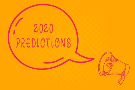 Conceptual hand writing showing 2020 Predictions. Concept meaning list of things you feel that going to happen without proof Transparent Speech Bubble Shining icon and Outline Megaphone Banque d'images