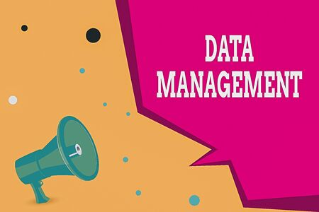 Conceptual hand writing showing Data Management. Concept meaning The practice of organizing and maintaining data processes Megaphone Loudspeaker and Blank Geometric shape Half Speech Bubble Stok Fotoğraf