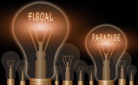 Conceptual hand writing showing Fiscal Paradise. Concept meaning The waste of public money is a great concern topic Standard-Bild