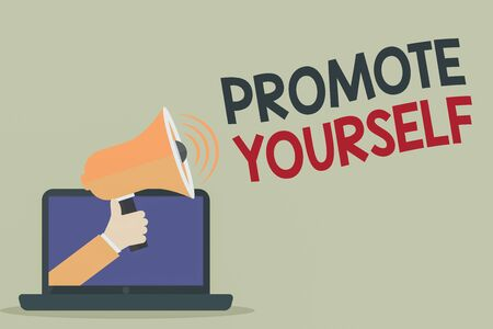 Text sign showing Promote Yourself. Business photo showcasing market and introduce to others Improvement Encourage Hu analysis Hand Coming out of PC Monitor Holding Megaphone with Volume Icon Banque d'images