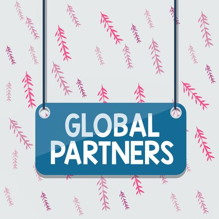 Handwriting text Global Partners. Conceptual photo Two or more firms from different countries work as a team Board color background plank attached string panel rectangle empty surface