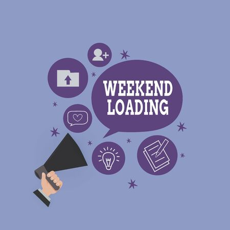 Handwriting text Weekend Loading. Conceptual photo Starting Friday party relax happy time resting Vacations Hu analysis Hand Holding Megaphone Talking Different Topic and Speech Bubble Фото со стока