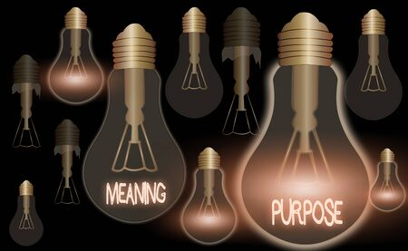 Writing note showing Meaning Purpose. Business concept for The reason for which something is done or created and exists