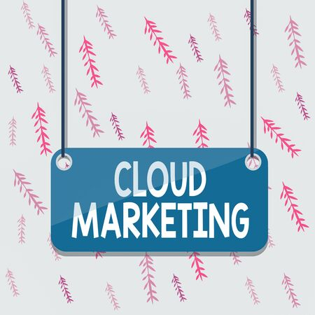 Handwriting text Cloud Marketing. Conceptual photo The process of an organisation to market their services Board color background plank attached string panel rectangle empty surface