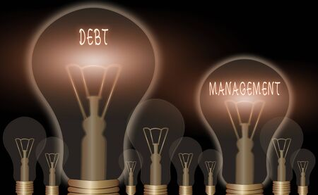 Conceptual hand writing showing Debt Management. Concept meaning The formal agreement between a debtor and a creditor Archivio Fotografico