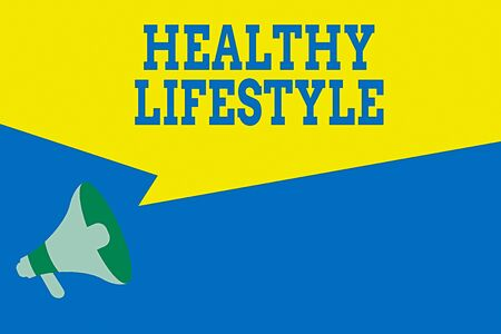 Word writing text Healthy Lifestyle. Business photo showcasing Live Healthy Engage in physical activity and exercise Megaphone Loudspeaker Amplify and Blank Geometric shape Half Speech Bubble Stock Photo