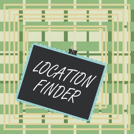 Text sign showing Location Finder. Business photo text A service featured to find the address of a selected place Stamp stuck binder clip paper clips square color frame rounded tip sticker Stock Photo