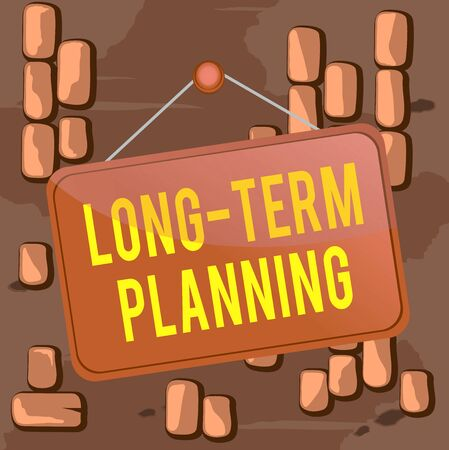 Word writing text Long Term Planning. Business photo showcasing Establish Expected Goals five or more years ahead Colored memo reminder empty board blank space attach background rectangle