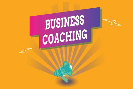 Conceptual hand writing showing Business Coaching. Concept meaning Helping employees become more active Consulting an expert Megaphone Lightning Burst and Rectangular form with shadow