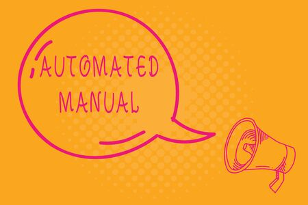 Conceptual hand writing showing Automated Manual. Concept meaning as trigger shift and it can switch between moods easily Transparent Speech Bubble Shining icon and Outline Megaphone