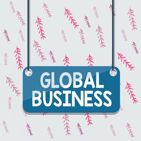 Handwriting text Global Business. Conceptual photo Trade and business system a company doing across the world Board color background plank attached string panel rectangle empty surface Stock Photo
