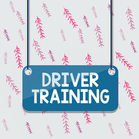 Handwriting text Driver Training. Conceptual photo prepares a new driver to obtain a driver s is license Board color background plank attached string panel rectangle empty surface Imagens