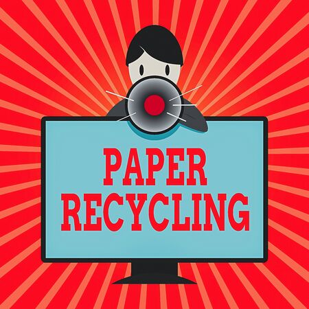 Conceptual hand writing showing Paper Recycling. Concept meaning Using the waste papers in a new way by recycling them Man Behind mounted PC Monitor Talking and Holding Megaphone