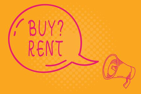 Conceptual hand writing showing Buy Question Rent. Concept meaning Group that gives information about renting houses Transparent Speech Bubble Shining icon and Outline Megaphone Imagens