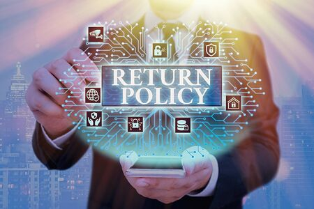 Handwriting text Return Policy. Conceptual photo Tax Reimbursement Retail Terms and Conditions on Purchase Banque d'images