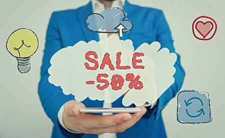 Conceptual hand writing showing Sale 50 Percent. Concept meaning A promo price of an item at 50 percent markdown
