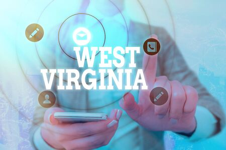 Word writing text West Virginia. Business photo showcasing United States of America State Travel Tourism Trip Historical
