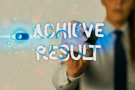 Writing note showing Achieve Result. Business concept for Accomplishment Attain Bring to a successful conclusion