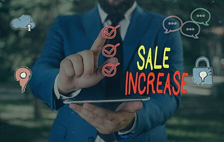 Text sign showing Sale Increase. Business photo showcasing Average Sales Volume has Grown Boost Income from Leads Banco de Imagens