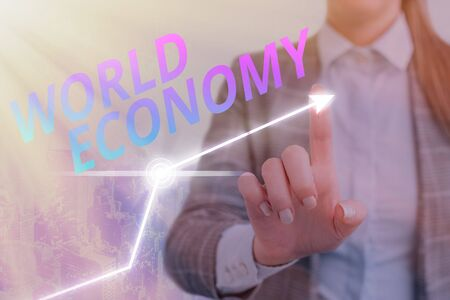 Text sign showing World Economy. Business photo text Global Worldwide International markets trade money exchange
