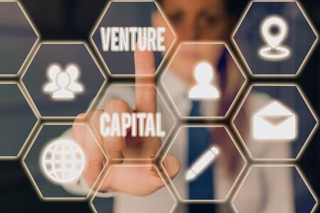 Conceptual hand writing showing Venture Capital. Concept meaning financing provided by firms to small early stage ones