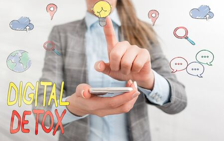 Writing note showing Digital Detox. Business concept for Free of Electronic Devices Disconnect to Reconnect Unplugged