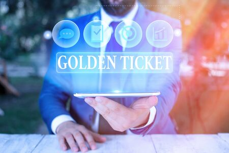 Handwriting text Golden Ticket. Conceptual photo Rain Check Access VIP Passport Box Office Seat Event