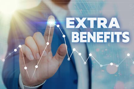 Writing note showing Extra Benefits. Business concept for Additional compensation Bonus Subsidies Incentives Allowances