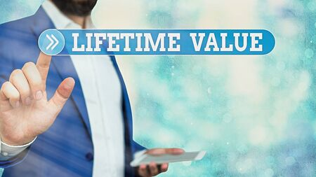 Text sign showing Lifetime Value. Business photo showcasing Worth of the customer over the lifetime of the business
