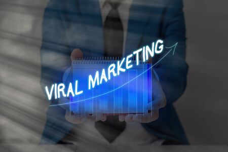 Conceptual hand writing showing Viral Marketing. Concept meaning whereby consumer encouraged share information via Internet