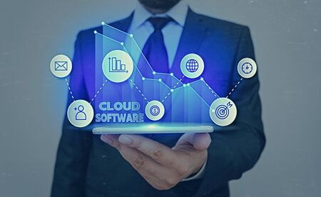 Conceptual hand writing showing Cloud Software. Concept meaning Programs used in Storing Accessing data over the internet
