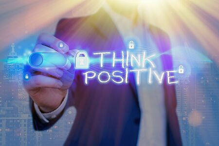 Word writing text Think Positive. Business photo showcasing The tendency to be positive or optimistic in attitude