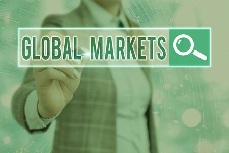 Word writing text Global Markets. Business photo showcasing Trading goods and services in all the countries of the world
