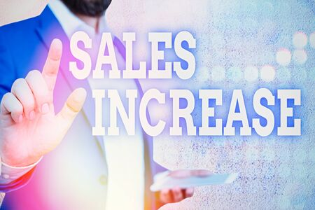Word writing text Sales Increase. Business photo showcasing Grow your business by finding ways to increase sales