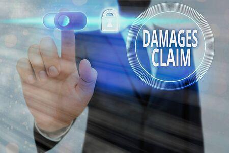 Conceptual hand writing showing Damages Claim. Concept meaning Demand Compensation Litigate Insurance File Suit