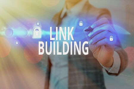 Writing note showing Link Building. Business concept for SEO Term Exchange Links Acquire Hyperlinks Indexed